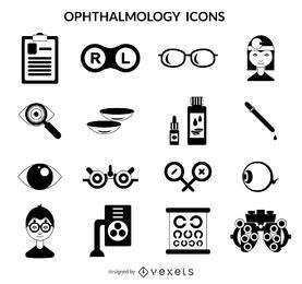Paquete de iconos de oftalmología trazo