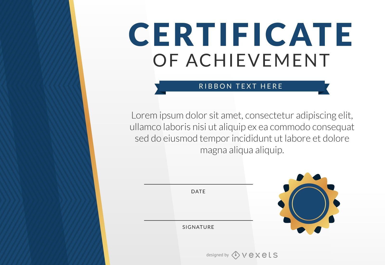 certificate of achievement template mockup vector download
