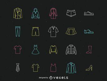 Pack de iconos de linea de ropa