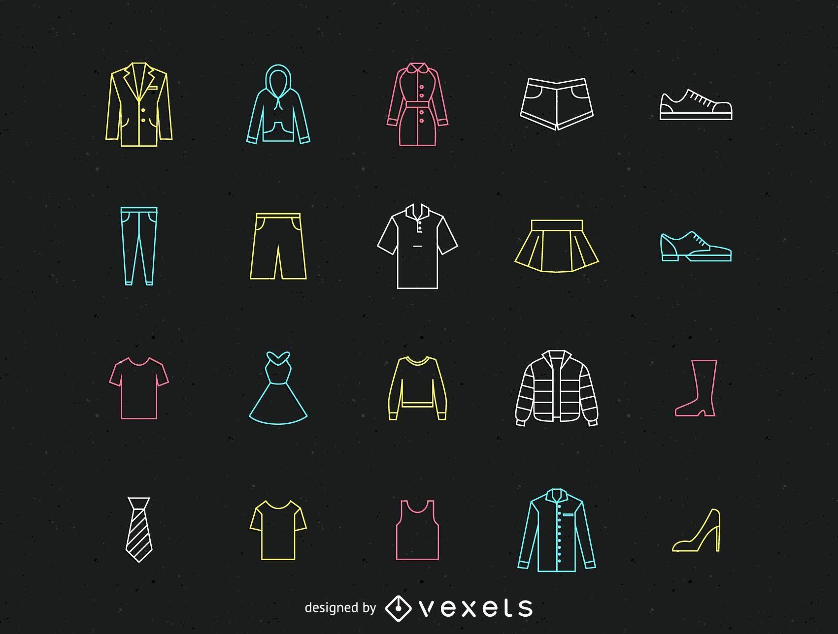 Paquete de iconos de línea de ropa