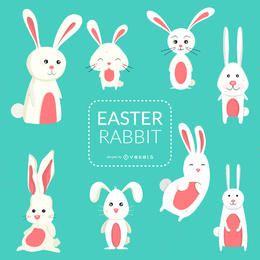 Conjunto de conejos de Pascua ilustraciones