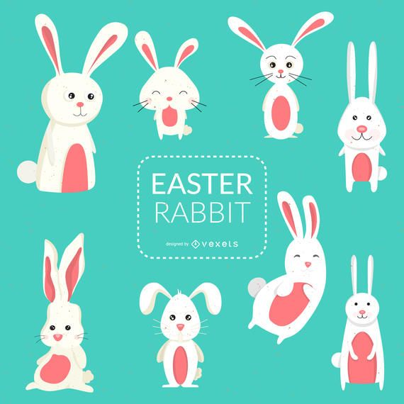Set of Easter bunnies illustrations