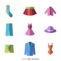 Flache Kleidung-Icon-Set