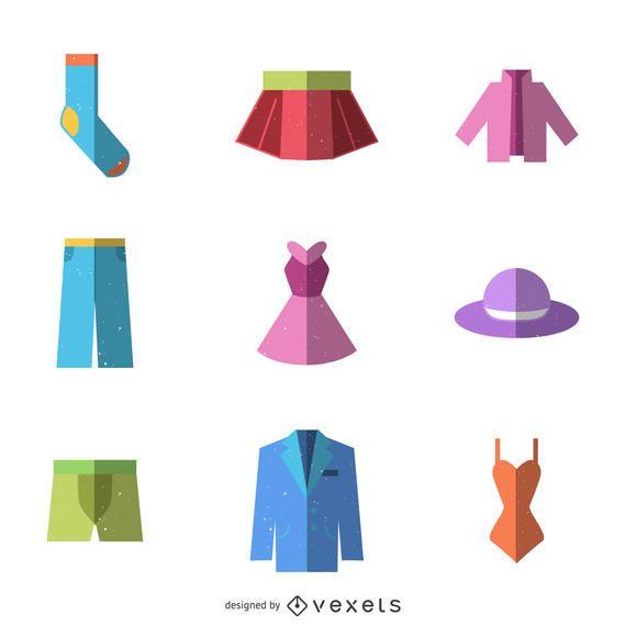 Flat clothes icon set