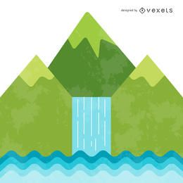 Bright waterfall illustration