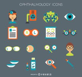 Conjunto de iconos de la oftalmología plana