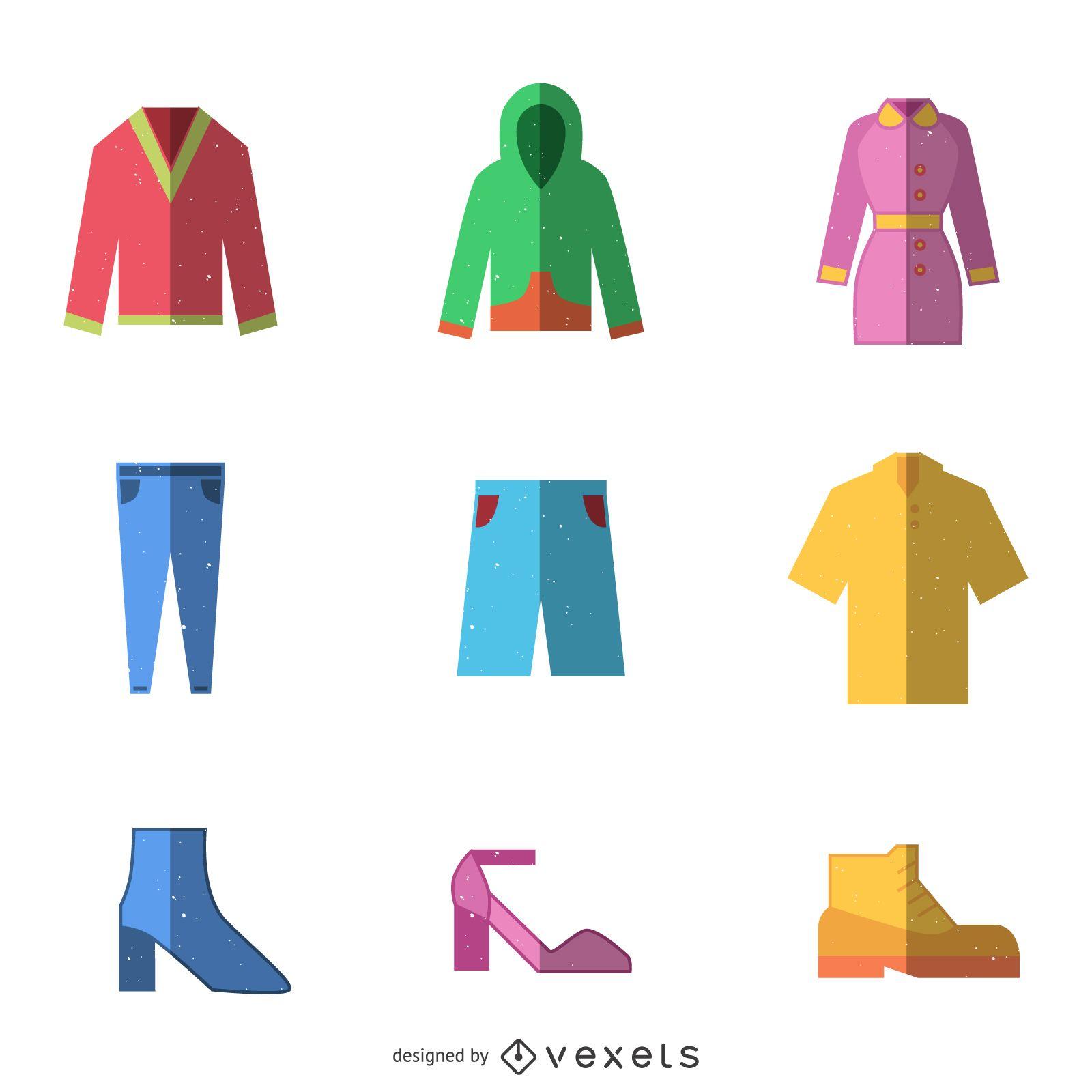 Conjunto de iconos de ropa plana cuadrada