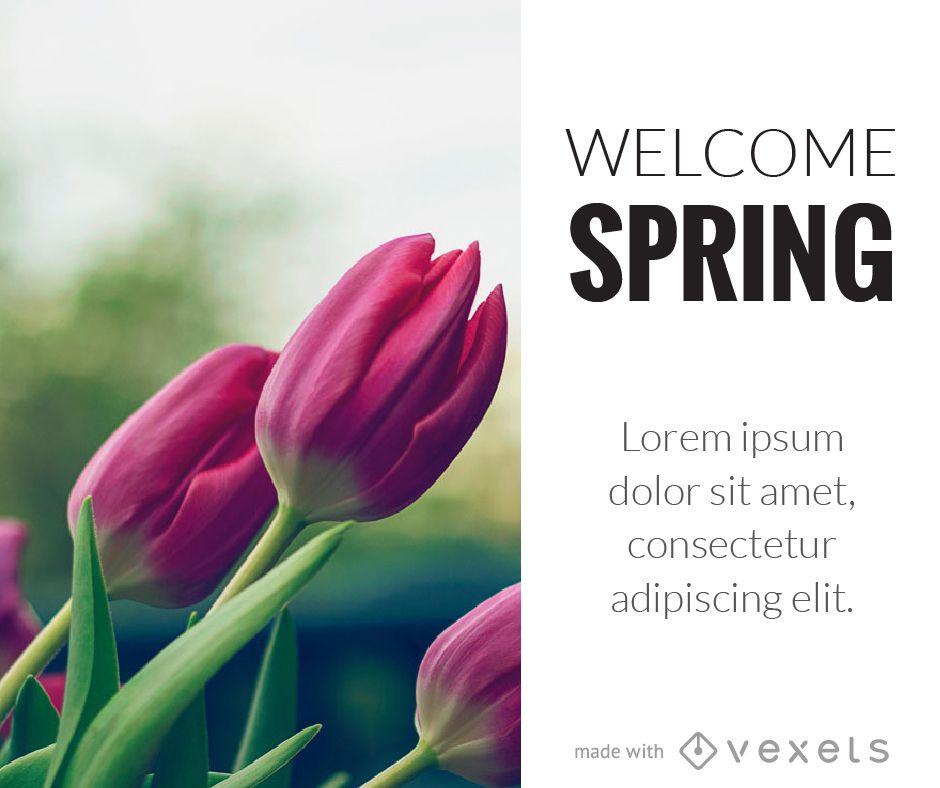 Cartel de flores de primavera