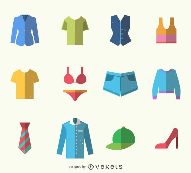 Colorful clothes icon pack