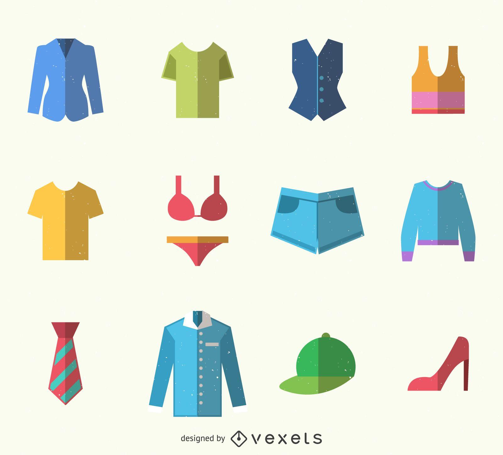 Paquete de iconos de ropa colorida