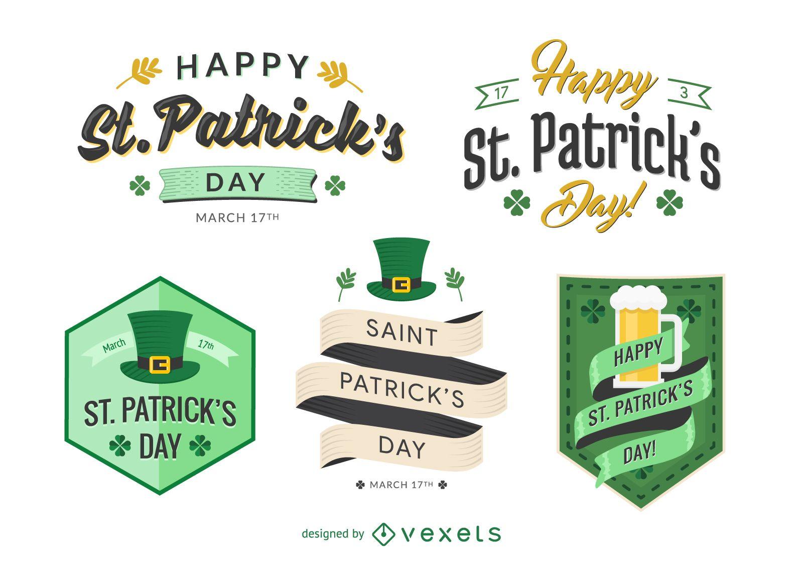 Flat St. Patrick's emblem set