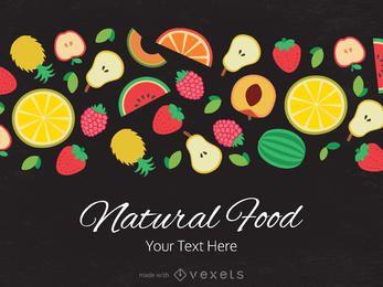 frutas y verduras planas banner maker