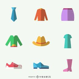 Clothing items icon set