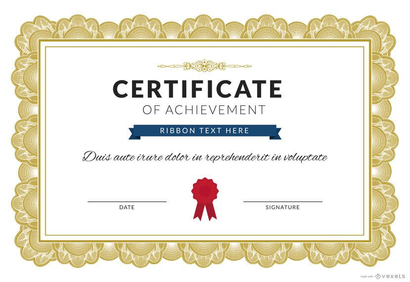 Certificate Of Achievement Maker  Editable Design