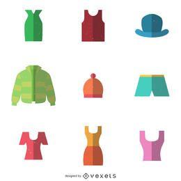 9 conjunto de ícones de itens de vestuário