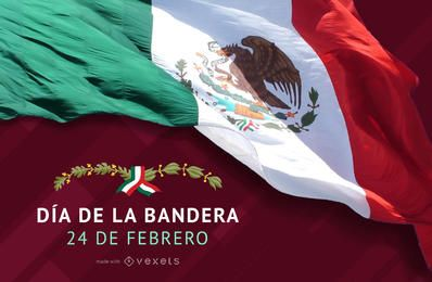 Poster del Día de la Bandera de Mexico