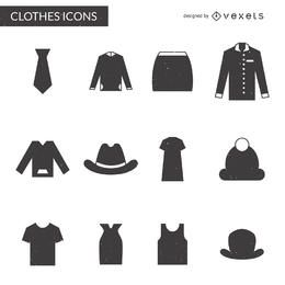 Clothing elements icon collection