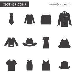 Coleção de ícones de elementos de roupas