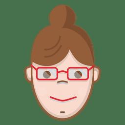 Bollo de color mujer con gafas.