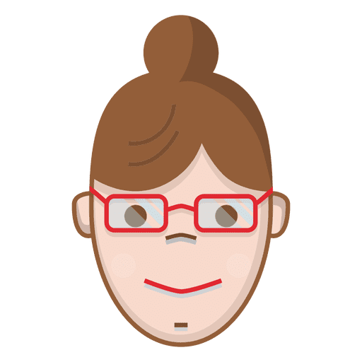 Colored bun women with glasses Transparent PNG