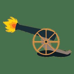 Disparo de cañón de artillería de fuego.