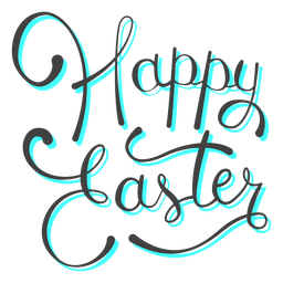 Feliz Pascua cian mensaje de sombra