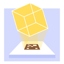 Proyección de cubo transparente holograma