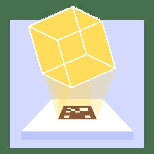 Proyecci?n de cubo transparente de holograma