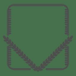 Corona de laurel rectángulo redondeado heráldico.