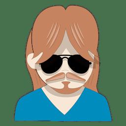 Homem aviador óculos de sol pescoço v