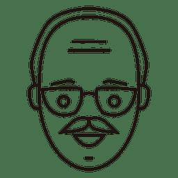 Viejo hombre suave mirada bigote