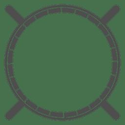 Escudo redondeado heráldico de lanzas cruzadas.