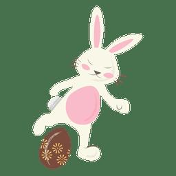 Futebol coelho da páscoa pontapé de ovo