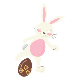 Patada de huevo de Pascua de conejo de fútbol