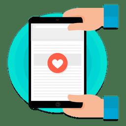Tableta con pantalla táctil del corazón