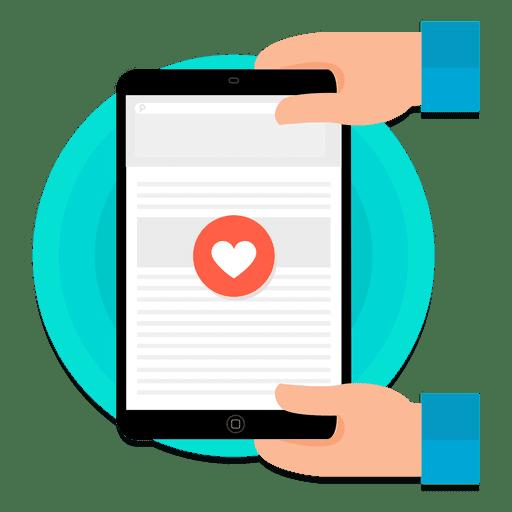 Coração touchscreen tablet Transparent PNG