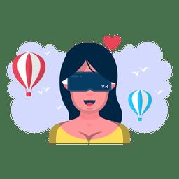 Vôo de mulher de realidade virtual