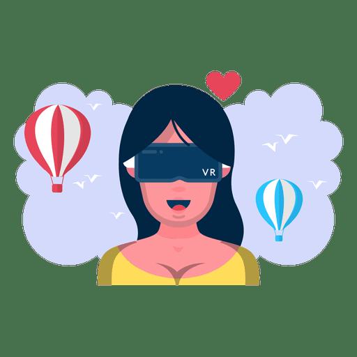 Virtual reality woman flight