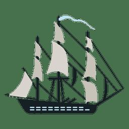 La nave de guerra navega bandera azul