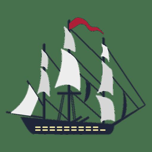 Buque de guerra navega bandera roja
