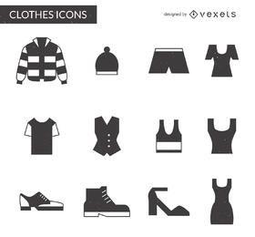 12 artículos de ropa paquete de iconos
