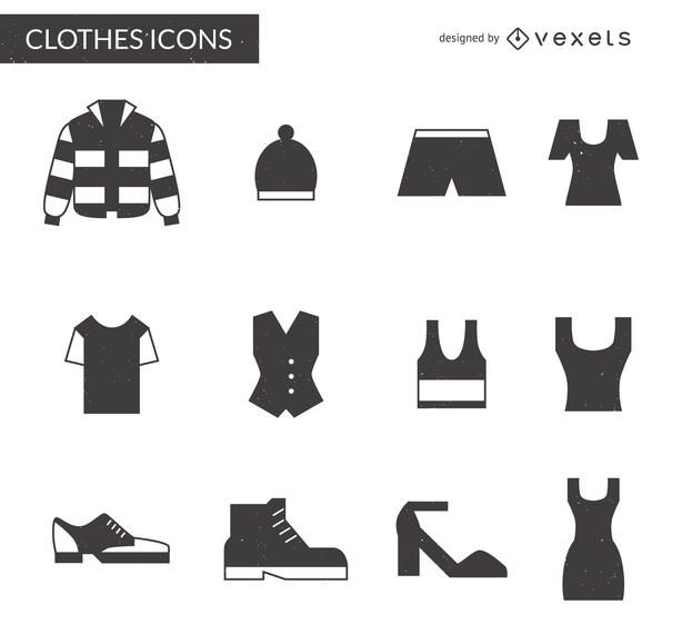 12 clothing items icon pack