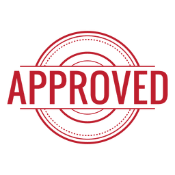 Approved red rounded