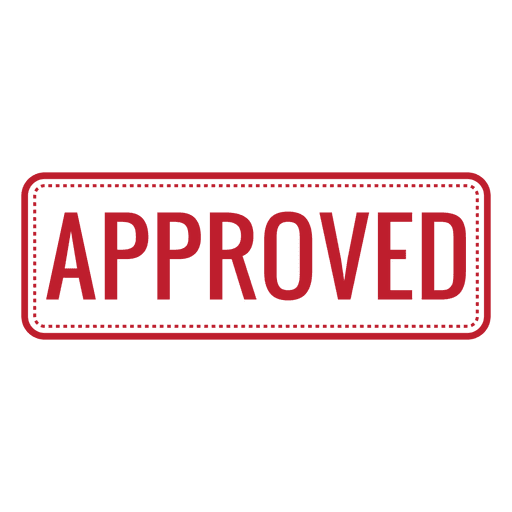 Approved red rounded rectangle