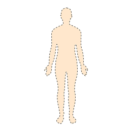 Human body man with dashed lines