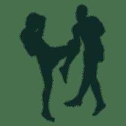 Kickboxing bloque de patada de rodilla