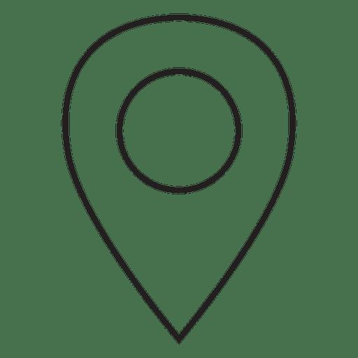 Icono de trazo de pin de ubicación