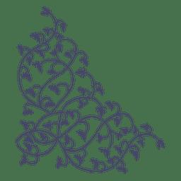 Ornament Ecke Zweige gehängt