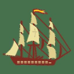 El buque de guerra de España navega por el viento
