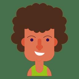Rosto quadrado sorriso cabelo ondulado
